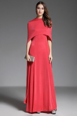 Designer Red Cape Style Long Formal Dress