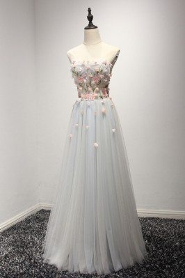 Strapless Long Grey Tulle...