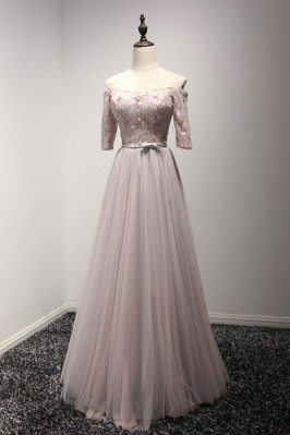 Off The Shoulder Sleeved Formal Party Dress With Beading Lace Bodice - AKE18052