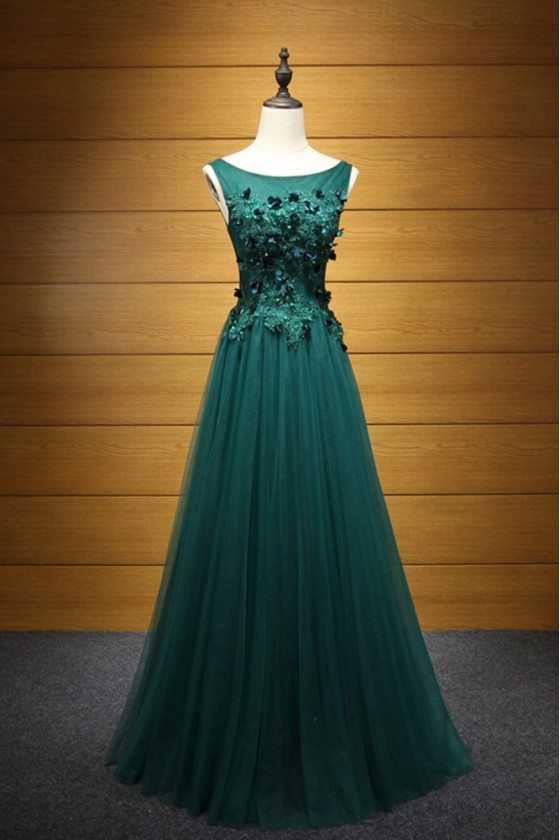 Fitted Hunter Green Long Tulle Prom Dress With Applique Lace Bodice