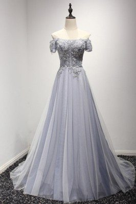 Grey Blue Long Beaded Prom...