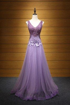 Sparkly Lilac Pleated Prom...