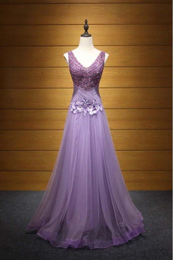 Sparkly Lilac Pleated Prom Dress With Straps Sweetheart