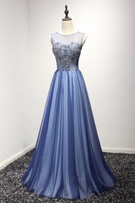 Unique Long Tulle Blue...