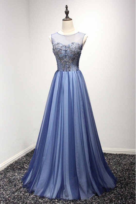 Unique Long Tulle Blue Formal Dress With Sparkly Beading