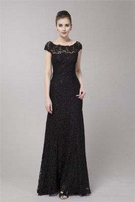 Black Mermaid Lace Cap Sleeve Formal Dress