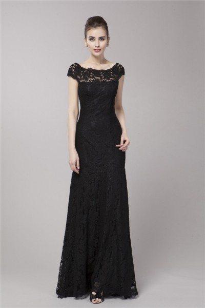 Black Mermaid Lace Cap Sleeve Formal Dress