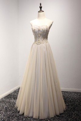 A Line Champange Long Prom...
