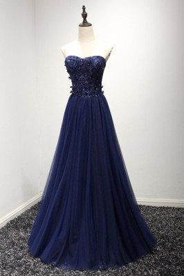 Strapless Long Navy Blue...