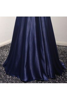 Sparkly Navy Blue Long Formal Dress With Beading Corset Back - AKE18011
