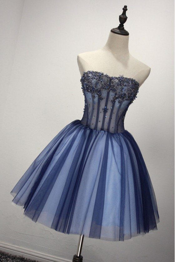 Short Sparkly Blue Formal Dress For 8th Grade Girls