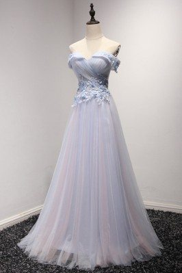 Off The Shoulder Tulle Prom...