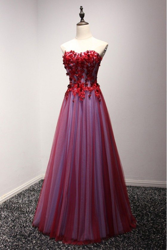 Long Red Strapless Prom Dress With Beaded Floral Lace
