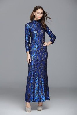 Sparkly Sequin Embroidery Long Sleeve Formal Dress