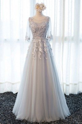 Beautiful Lace Long Tulle Prom Dress With Half Sleeves - MDS17006