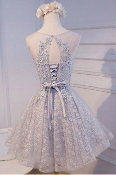 Short Grey Lace Tulle Homecoming Party Dress Sleeveless - MDS17019