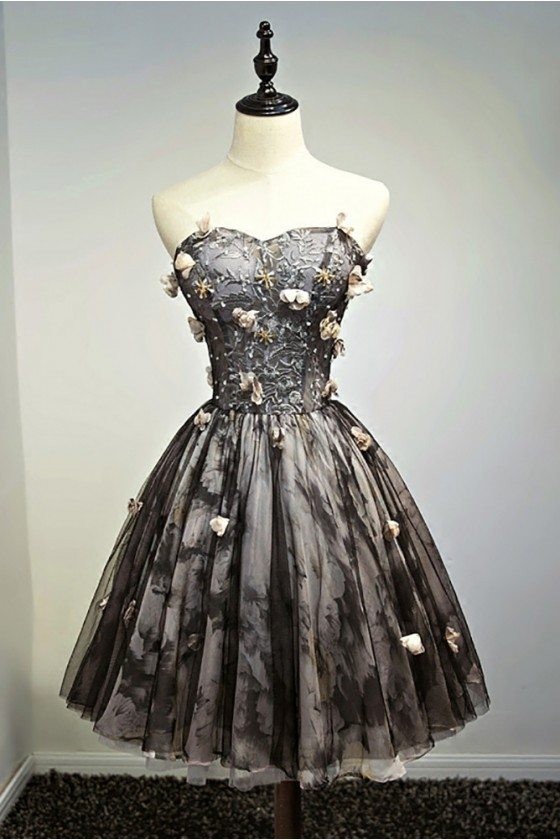 Unique Vintage Short Black Prom Homecoming Dress Ballgown With Flowers - MDS17022