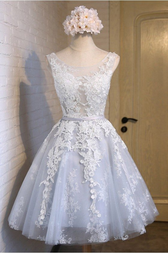 Cute Sleeveless Short Lace And Tulle Party Dress - MDS17024