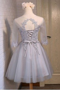 Elegant Short Tulle Homecoming Party Dress With Half Sleeves - MDS17025