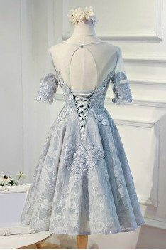 Vintage Round Neck Lace Short Formal Party Dress With Short Sleeves - MDS17027