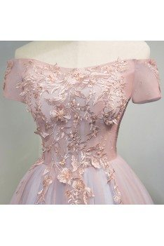 Unique Off Shoulder Pink Short Prom Party Dress With Lace Back - MDS17028
