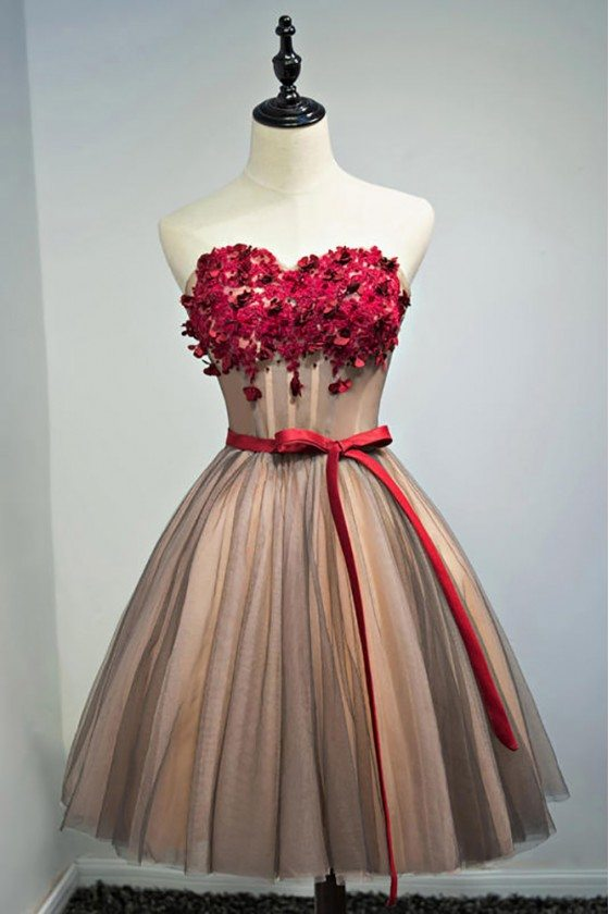 Unique Vintage Short Ballgown Prom Homecoming Dress With Flowers Sash - MDS17031