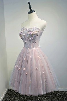 Gorgeous Pink Tulle Short Homecoming Party Dress With Petals Flowers - MDS17033