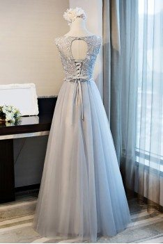 Lace Round Neck Formal Long Party Dress A Line Sleeveless - MDS17034