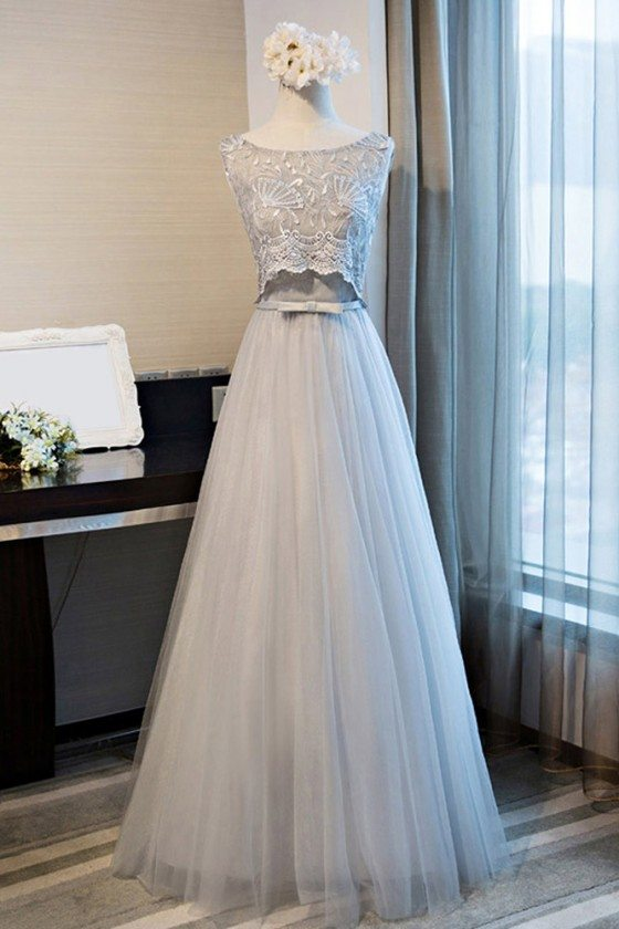 Lace Round Neck Formal Long Party Dress A Line Sleeveless