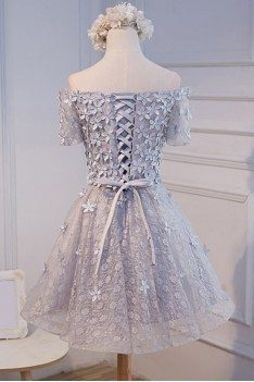 Silver Grey Off The Shoulder Short Party Dress With Flowers - MDS17035
