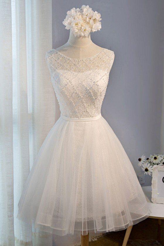 Classy Beaded White Short Party Dress Tulle Sleeveless - MDS17036