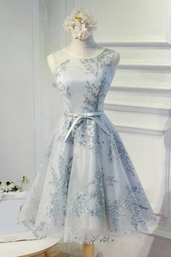 Grey Unique Lace Short A Line Party Dress With Sash