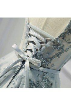 Grey Unique Lace Short A Line Party Dress With Sash - MDS17037