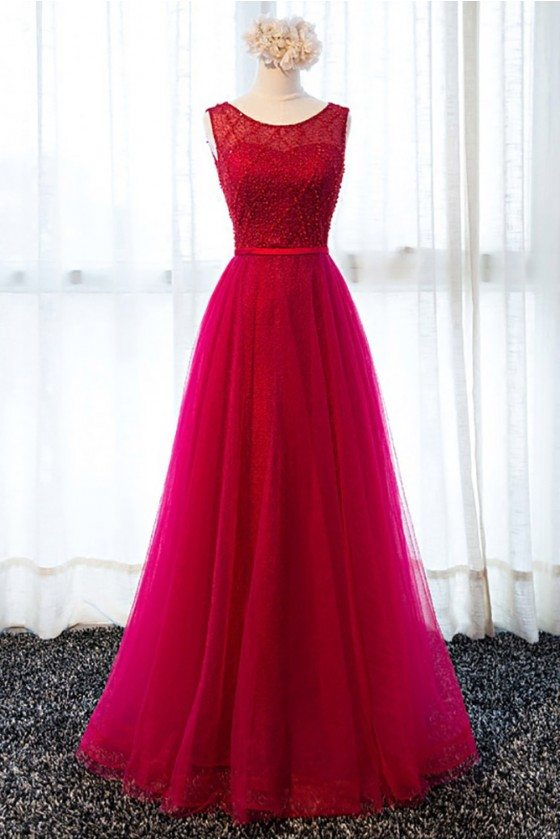 Classy Burgundy Beaded Long Tulle Formal Party Dress With Lace Back