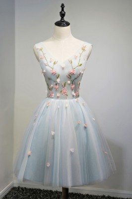 Unique V-neck Dusty Blue Tulle Short Prom Party Dress With Flowers - MDS17043