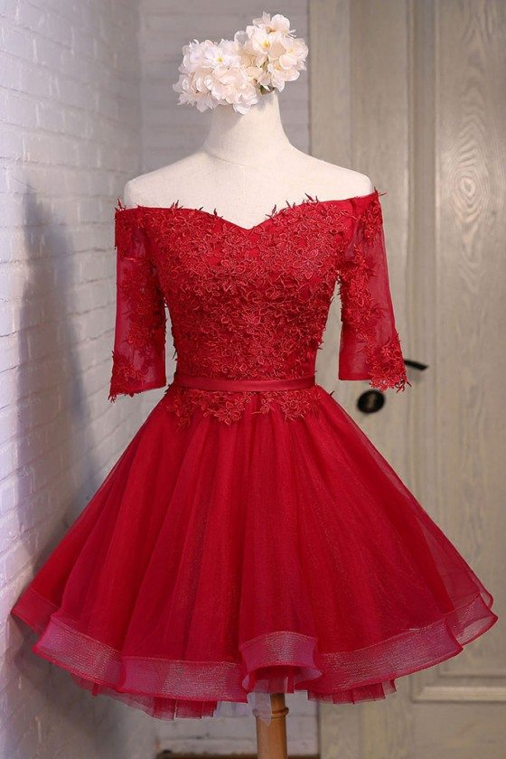 Red Lace Off The Shoulder Short Tulle Party Dress With Sleeves - MDS17045