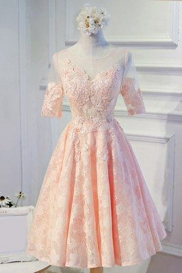 Modest Pink Lace Short Formal Party Dress With Sleeves - MDS17047