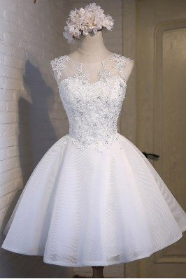 Gorgeous White Ballgown Lace Short Prom Party Dress Sleeveless - MDS17050