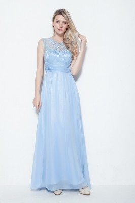 Embroidery Long Chiffon Party Dress
