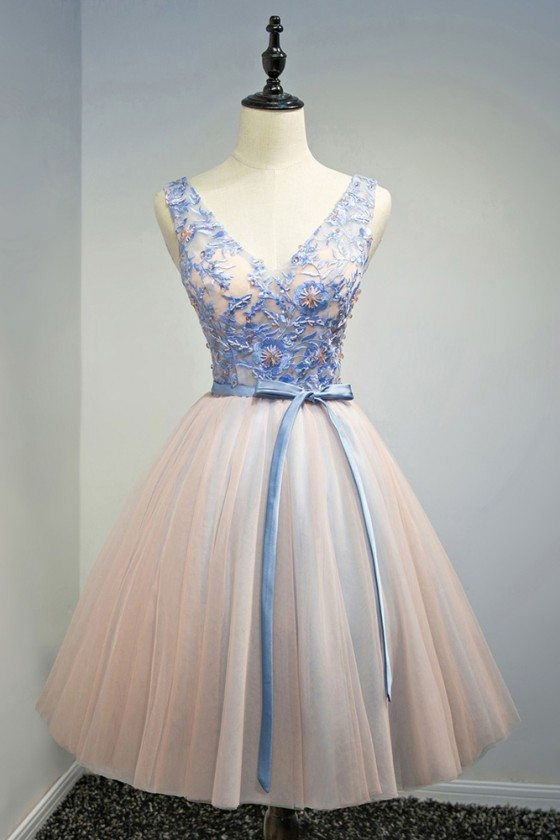 Unique Blue With Pink Short Formal Party Dress With Beading Sash