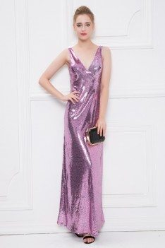 V-neck Sequined Long Backless Party Dress