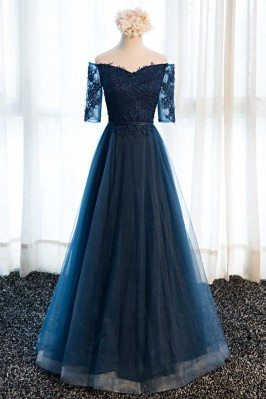 Gorgeous Navy Blue Long...