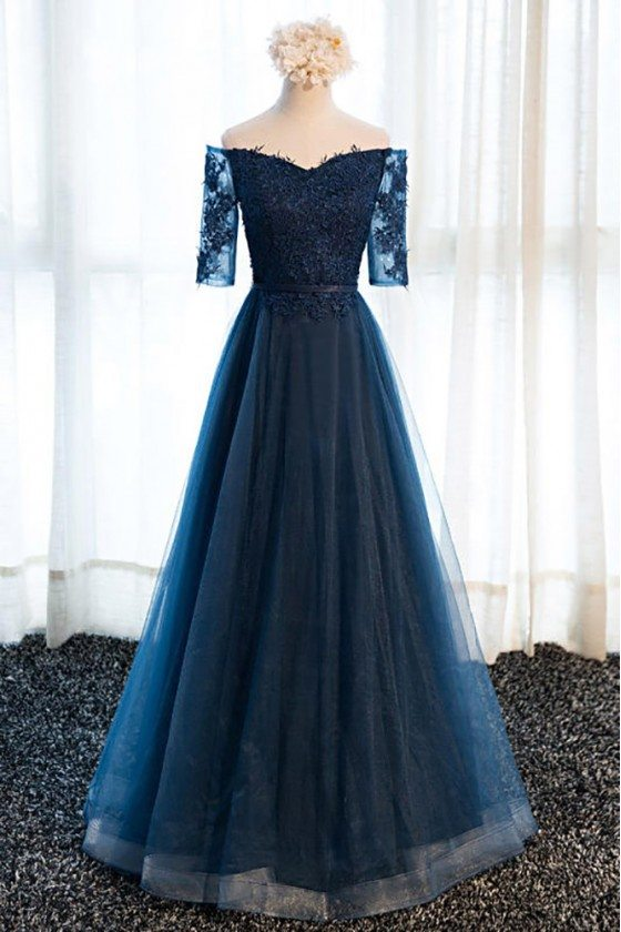 Gorgeous Navy Blue Long Tulle Prom Dress Off The Shoulder Sleeves - MDS17057