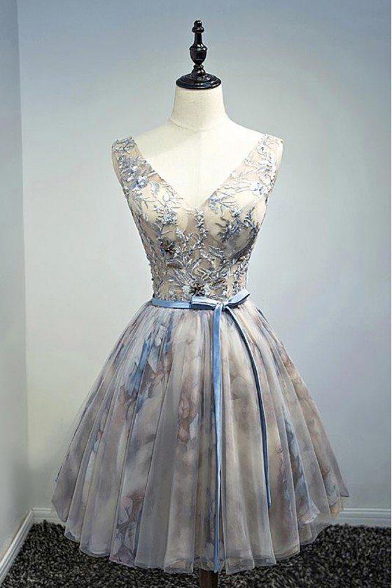 Vintage Beaded Floral Short Party Dress V-neck With Sash - MDS17068