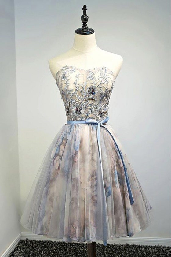 Beaded Floral Strapless Short Formal Party Dress With Sash - MDS17069