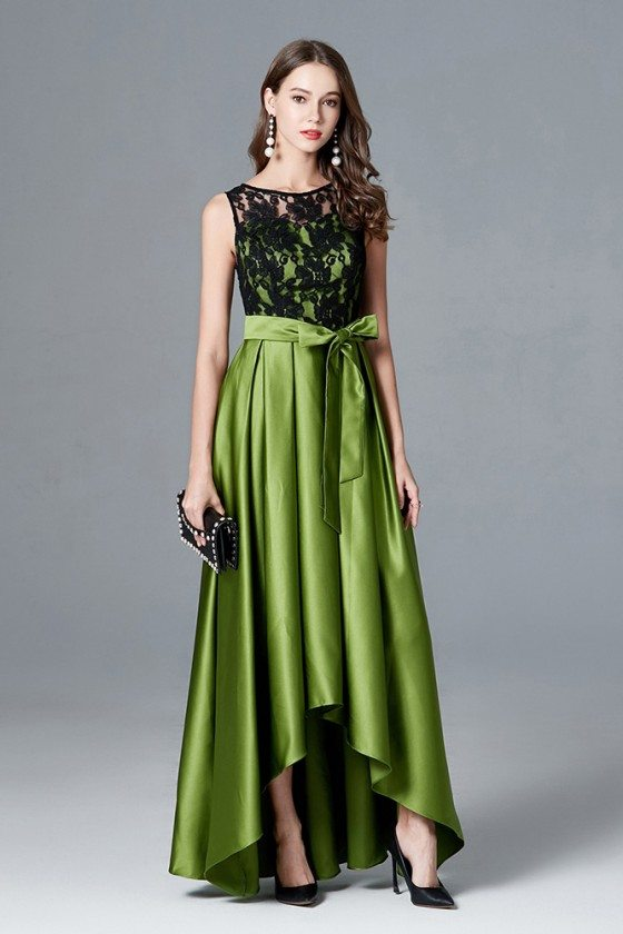 High Low Lime Green Satin Evening Dress With Black Lace Top