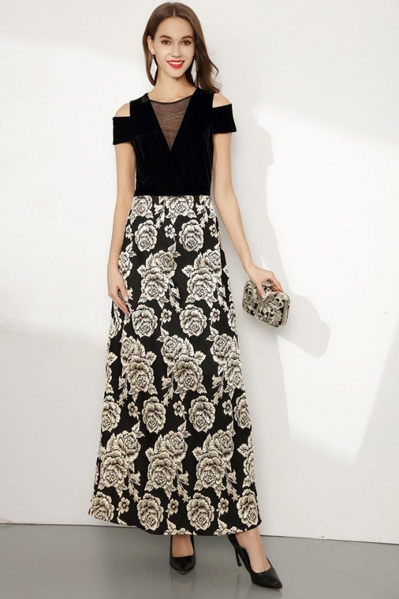 Embroidery Floral Black Long Formal Dress With Cold Shoulder - CK767