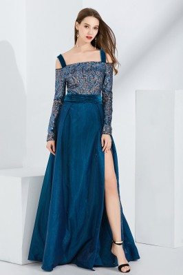 Blue Velvet Slit Sequined...