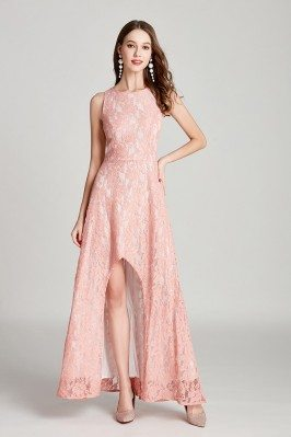 All Lace High Low Pink Long...
