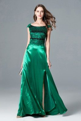 Split Long Green Cap Sleeve...